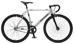 Retrospec Bicycles Drome Fixed-Gear Track Bike with Carbon Fork, Brushed Alloy, 55 cm/Medium