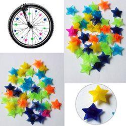 Star Bike Bicycle Wheel Spoke Beads Luminous Plastic Clip Spoke Bead Bicycle Beads Wire Beads De ...