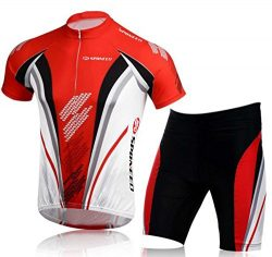 sponeed Men's Cycling Jersey Shorts Suit Bicycle Outfit Uniforms Club Bike Gear US L US Red