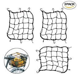 """Creatiee 3Pcs Luggage Cargo Net, 15"""" Elastic Net Pocket with 6 Rubber-Tipped Metal Hooks & ..."""
