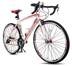 Merax Finiss Aluminum 21 Speed 700C Road Bike Racing Bicycle (Red & White, 56 cm)