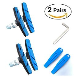 Alritz Bike Brake Pads Set, 2 Pairs Road Mountain Bicycle V-Brake Blocks Shoes with Tire Levers, ...