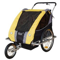 Vector 2-In-1, 2 Seater Baby Stroller Jogger/Bicycle Trailer With Pivot Wheel and Break on Handl ...