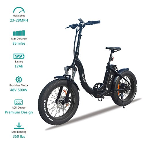 VTUVIA Folding Electric Bicycle With Waterproof 500W Motor
