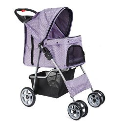 Flexzion Pet Stroller Dog Cat Small Animals Carrier Cage 4 Wheels Folding Flexible Easy Walk for ...
