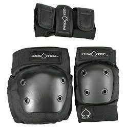 Pro-Tec Street 3-Pack Elbow, Knee, and Wrist Pad Combo – Black (Youth Small)