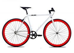 Golden Cycles Single Speed Fixed Gear Bike with Front & Rear Brakes (Diablo 52), White/Red