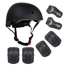 ZCS-SHOP Kids Multi-Sport Helmet With Knee&Elbow Pads and Wrists, 7 Pieces Kids Boys and Gir ...