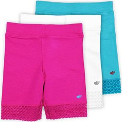 Lucky & Me Jada Little Girls Bike Shorts, Tagless, Soft Cotton, Lace Trim, Underwear, 3 Pack ...