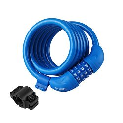 Titanker Bike Lock, Bike Locks Cable 6 feet Coiled Secure Resettable Combination or Keys Bike Ca ...