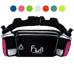 FunH2OBelt (Pink – Large Up to 34 inch) Hydration Running Belt with Water Bottles 6oz R ...