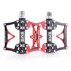 3 Bearing Road Mountain Bike Platform Pedals Flat Sealed Lubricate Bearing Axle 9/16 Inch-Red