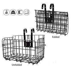 HOMEE Folding Rear Bike Basket Wire Mesh Fold-Up Detchable Front Bag Rear Hanging Bike Basket Bi ...