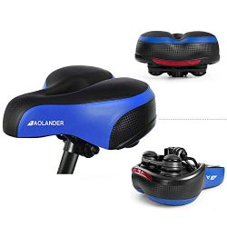 Aolander Bicycle Saddle with DUAL SHOCK ABSORBING BALL Most Comfortable Leather Bike Seat Memory ...