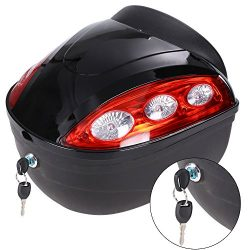 Bluefringe Motorcycle Scooter Top Box Luggage Hard Trunk Top Case,Lockable Top Hard Tail Case Bo ...