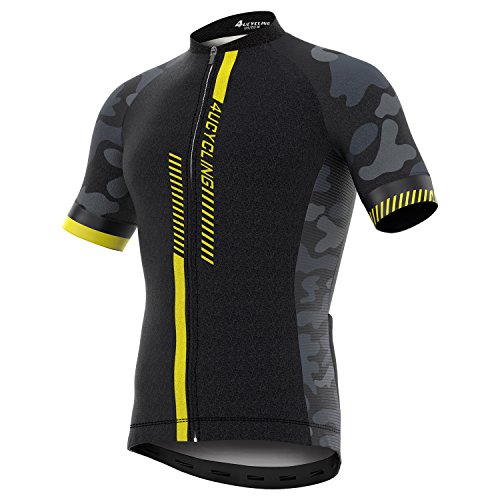Men's Short Sleeve Cycling Jersey Full Zip Moisture Wicking, Breathable Running Top – ...