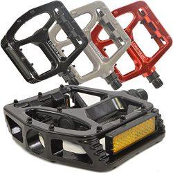 Lumintrail PD-895B Big Foot MTB BMX Aluminum Platform Bike Pedals 9/16″ Spindle (Black)