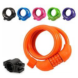 Titanker Bike Lock, 4ft Bike Locks Cable Coiled Secure Resettable Combination/Keys Bike Cable Lo ...