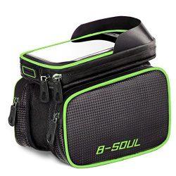 AISISAIWEN Bike Frame Bag Bicycle Top Tube Bag Waterproof Sensitive Touch Screen Cell Phone Moun ...
