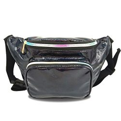 Holographic Fanny Pack Waterproof Waist Bag for Women-Fashion Waist Bag for Travel,Cycling,Festi ...
