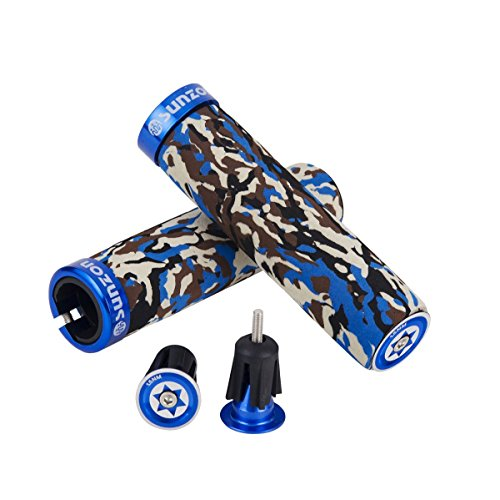 SUNZON Mountain Bike Grips Camo Soft Breathable Aluminum Alloy Locking Ring Bicycle Handlebar fo ...