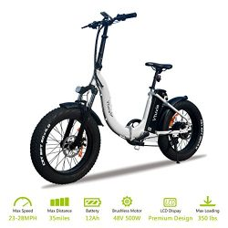 VTUVIA Folding Electric Bicycle With 500W motor And 12Ah Lithium-Ion Battery, 20 Inch Fat Tire E ...