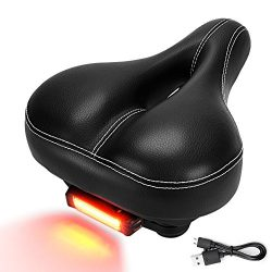 DAWAY C900 Bike Seat with Rechargeable Taillight – Men Women Foam Padded Leather Wide Bicy ...