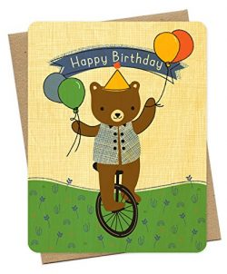 Unicycle Bear Wood Birthday Card by Night Owl Paper Goods
