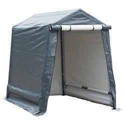 Abba Patio Storage Shelter 6 x 8- Feet Outdoor Carport Shed Heavy Duty Car Canopy, Grey