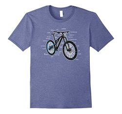 Mens Bike Diagram Shirt Parts of a Mountain Bike Cyclist Tee Small Heather Blue