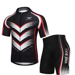 Men's Cycling Jersey Set Bicycle Short Sleeve Set Full Zip Moisture Wicking, Breathable Bi ...