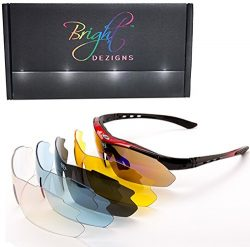 Bright Dezigns Sports Sunglasses Unisex Five Interchangeable Polarised Lenses for Cycling, Mount ...