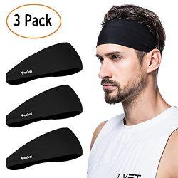 poshei Mens Headband (3 Pack), Mens Sweatband & Sports Headband for Running, Crossfit, Cycli ...