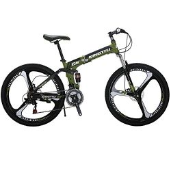Kingttu G6 Mountain Bike 26 Inches 3 Spoke Wheels Dual Suspension Folding Bike 21 Speed MTB Army ...