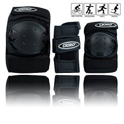 GIORO Adult/Child's Multi Sports Protective Gear, 3 In 1 Set Knee Pads Elbow Pads Wrist Gu ...