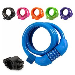 Titanker Bike Lock, 4ft Security Resettable Combination Coiling Bike Cable Locks with Mounting B ...