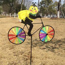 Thobu Garden Tools Cute 3D Animal on Bike Windmill Whirligig Garden Lawn Yard Decor Wind Spinner Bee