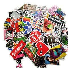 100 Pieces Waterproof Vinyl Stickers for Personalize Laptop, Car, Helmet, Skateboard, Luggage Gr ...