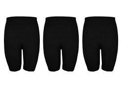 Crush Womens Plus Size Seamless Basic Knee Length Bike Shorts Pack of Three Black Size 1X/2X