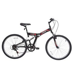 Murtisol 26″ Reinforced Mountain Bike Folding 7 Speed with Hybrid Suspension Shimano Foldi ...