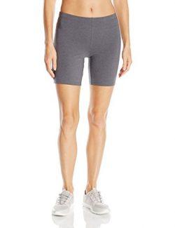Hanes Women's Stretch Jersey Bike Short, Charcoal Heather, Medium