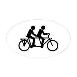 CafePress – Tandem Bicycle Bike – Oval Bumper Sticker, Euro Oval Car Decal
