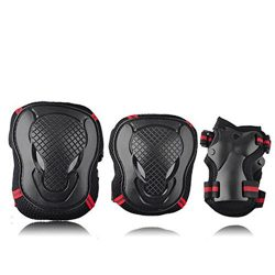 Fashionwu 6 Pcs Adult Kids Palm Elbow Wrist Protective Gear Sports Safety Pads Set for Rollerbla ...