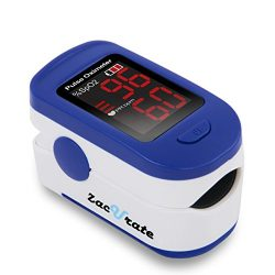 Zacurate 500BL Fingertip Pulse Oximeter Blood Oxygen Saturation Monitor with Batteries and Lanya ...