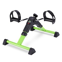 TODO Pedal Exerciser Foot Peddler Mini Bike Foldable with LCD Monitor (Green)