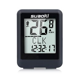 Suaoki Wireless Bike Computer Bicycle Speedometer Bike Odometer with LCD Backlight, 5 Language D ...