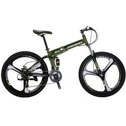 EUROBIKE G4 Mountain Bike 26 inches 3 Spoke Wheels Dual Suspension Folding Bike 21 Speed MTB Arm ...