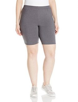 Just My Size Women's Plus-Size Stretch Jersey Bike Short, Charcoal Heather, 3X