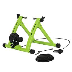 URSTAR Indoor Bike Trainer Stand, Portable Magnetic Resistance Bicycle Exercise Stand, Green