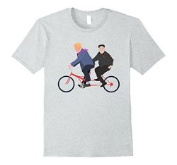 Men's Trump and Kim Jong Un Tandem Bike Funny T-Shirt Large Heather Grey
